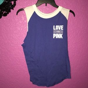 Blue and white PINK tank top.